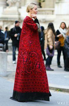 Russian style in fashion. Ulyana Sergeenko is wearing a coat of her own design.