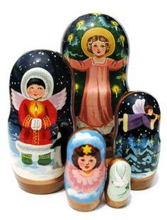 "Angels Russian Nesting Doll (5 piece set) 7""H"