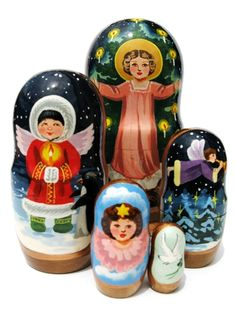 "Angels Russian Nesting Doll (5 piece set) 7""H"
