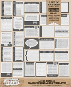Life in Pictures: Classic Journal Card Templates for Project Life or general scrapping | #projectlife #project #365 #peppermintcreativewishlist