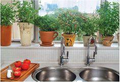Os vasos de arranjos que você ganha ao longo do ano podem ter um destino certo – e lindo: a janela da cozinha. É só plantar ervas e temperos e está pronta a sua hortinha caseira. Aqui, os vasos trazem novalgina, hortelã, orégano, pimenta, manjericão e doril. O melhor é que, além do visual, a cozinha fica aromatizada