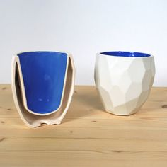 Facetted Modern Quality porcelain thermo tea cup - dual wall isolating cup hot drinks in polygons - Poligon thermo Cup - mug - Cobalt Blue