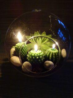 Une petite composition à partir d'un globe de verre qui m'a été offert....J'ai eu envie de mélanger vraies plantes et bougies. Pour en profiter même la nuit :-) Une jolie ambiance très rapide et facile à réaliser.