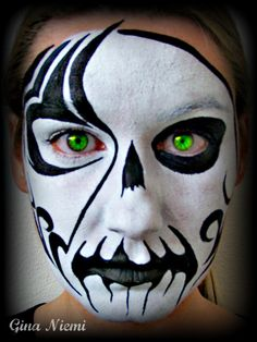 Tribal_Skull_Face_by_Gina_Niemi_fantasy_face_painting.jpg 600×799 pixels