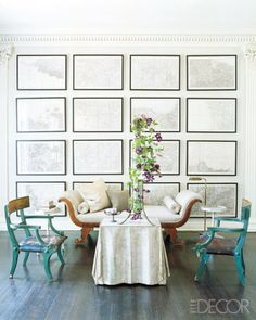 ELLE DECOR WHITE WALLS In the living room of designers John Dransfield and Geoffrey Ross, military maps of France were commissioned by Napoléon III, and the daybed is Charles X; Regency-style armchairs upholstered in leather flank a galvanized-tole table. White Rooms, White Walls, Neutral Walls, Elle Decor, Picture Wall Living Room, Picture Walls, Home Interior, Interior Decorating, Decorating Ideas