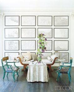 Elle Decor. Loving the framed black and white map wall