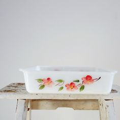 """Fire King Peach Blossom Baking Dish.""  Wish this would pop up at Goodwill!"