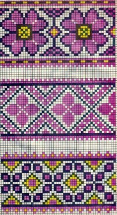 Scheme of Ukrainian embroidery (for tapestry crochet) Tapestry Crochet Patterns, Fair Isle Knitting Patterns, Bead Loom Patterns, Knitting Charts, Beading Patterns, Embroidery Patterns, Cross Stitch Borders, Cross Stitch Flowers, Cross Stitch Charts