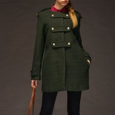Vert double boutonnage manteau col rond