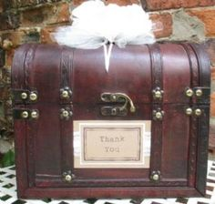 Honeymoon Fund Vintage Design Lace Pearl Treasure Chest Wedding Card Post Box