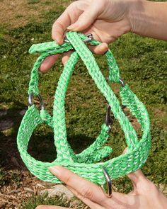 Reflective neon green paracord dog harness by akyramoto, via Flickr