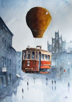 The flying tram over Chorzow by sanderus on DeviantArt
