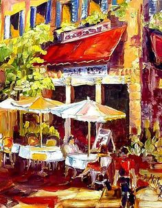 Art: french Cafe Scene by Artist Diane Millsap
