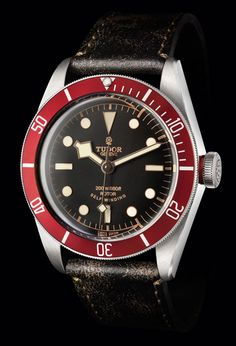 The Heritage Black Bay is inspired by a Tudor divers' watch that made its first appearance in 1954. The watch also pays homage to Tudor watches of the 1970s with its burgundy-colored, unidirectional bezel (and burgundy accent on the crown). The watch has steel case with a diameter of 41 mm, water-resistant to 200 meters (660 feet).