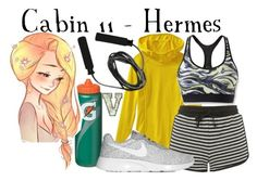 """""""Cabin Eleven - Hermes - Workout Wear (PJO)"""" by fabfandoms ❤ liked on Polyvore featuring Athleta, Topshop, Moving Comfort, Gatorade and NIKE"""