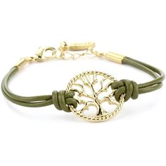 Ettika Gold Colored Tree of Life Olive Leather Bracelet ❤ liked on Polyvore