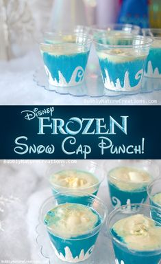 Frozen Snow Cap Punch - Blue Hawaiian Punch, lemon-lime soda, vanilla ice cream (even amounts of juice and soda).  Make your own cups using clear plastic cups that were decorated using white fabric paint and glitter.  To make them just freehand a swirls and mountain design on the bottom of each cup and before it dries add a little iridescent glitter!