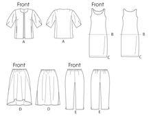 B5899 | Women's Jacket, Top, Dress, Skirt and Pants | Plus Size | Butterick Patterns