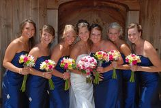 royal blue bridesmaid dress pink flowers | From Here to Eternity... - The Knot