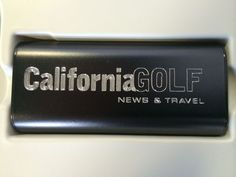 Plusblue custom engraved portable charger with California Golf logo