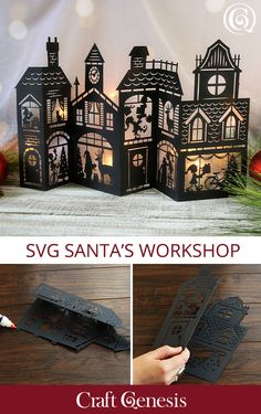 Take a peek inside the magic of Santa's workshop with this stunning SVG design. Create beautiful home décor using your Cricut, Silhouette, or other cutting machines. Cricut Christmas Ideas, Christmas Paper Crafts, Christmas In July, Christmas Svg, Christmas Projects, All Things Christmas, Holiday Crafts, Christmas Decorations, July Crafts