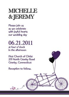 Bike wedding invitation. I don't want to get ahead of myself here, we all know how long the last wedding lasted..lol