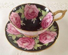 Aynsley Athens Black Cabbage Rose China Tea por NicerThanNewVintage