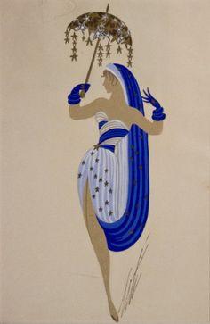 "Erte Original 'Pliuck d' Etorls"" Art Deco Gouache Painting"