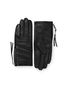 Vasarely gloves - Women's biker-inspired glove in leather nappa. Features side zip fastening and padded details with decorative stitching. Fully lined. Women's Gloves, Lady Biker, Stitching, Zip, Inspired, Detail, Hats, Leather, Costura