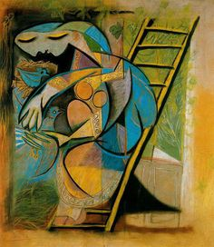 'Farmer's wife on a stepladder' (1933) by Pablo Picasso
