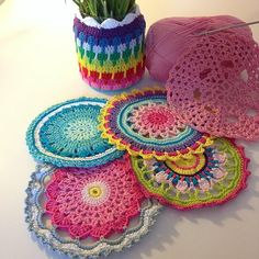 Some colourful mandalas for my talented friend she will do magic with them and turn them in to beautiful and another flowerpot with rainbow covers ☺️ have a lovely day my IG friends! Freeform Crochet, Crochet Motif, Crochet Doilies, Crochet Stitches, Knit Crochet, Crochet Patterns, Crochet Bunting, Crochet Garland, Crochet Decoration