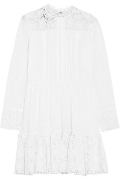 Valentino - Pintucked Broderie Anglaise Cotton-blend Mini Dress - White - IT42