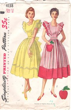 Simplicity 4138 Misses Dress and Pinafore Dress with apple pocket and full skirt sweetheart or square neck womens vintage sewing pattern by mbchills (The dress with the apple looks mighty yummy! 1950s Style, Vintage Outfits, Vintage Dresses, Vintage Dress Patterns, Clothing Patterns, 1950s Fashion, Vintage Fashion, Pinafore Dress Pattern, Patron Vintage