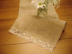 Burlap & Vintage Lace Table Runner