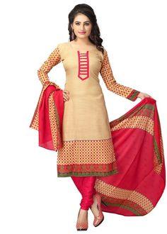 Vaamsi Women's Dress Material - Beige & Pink - Vaamsi Ethnic suit