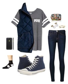 """outfit"" by sophiect ❤ liked on Polyvore featuring Victoria's Secret PINK, Frame Denim, Converse, London Road, Kate Spade, Vera Bradley, J.Crew, NIKE, women's clothing and women"