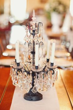 diy Wedding Crafts: Chandelier Candle Centerpiece - get inspired at diyweddingsmag.com