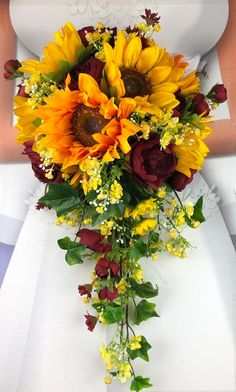 Artificial Burgundy Sunflower Bridal Bouquets, Burgundy and Sunflower Wedding Flowers Sunflower Arrangements, Sunflower Bouquets, Sunflower Boutonniere, Rose Wedding, Fall Wedding, Rustic Wedding, Wedding Ideas, Sunflower Wedding Decorations, Sunflower Wedding Cakes