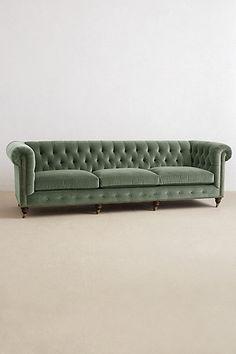 Velvet Grand Lyre Chesterfield Sofa - anthropologie.com