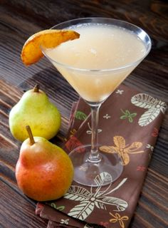 Fall Peartini...pear vodka, simple syrup, lemon and garnished with flambeed pear slices