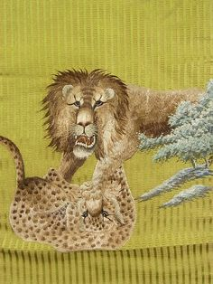 Lion and leopard obi.  Vintage, highly-embroidered...  And at $1800.00 USD, quite out of our price range!  (Well, most of us, anyway.)  from here: http://www.ichiroya.com/item/list2/230211/  at the renown online kimono market, Ichiroya.com