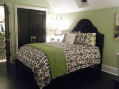 guest room classy damask bedroom - I would exchange the green for a pale pink or champagne color