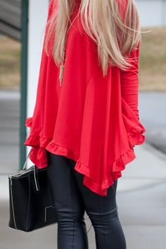 I like the color and length of this top, and especially like the ruffles!