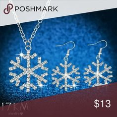 Necklace & Earrings NWT...silver plated snowflake necklace and earrings set❄❄❄ 17KM Jewelry Necklaces