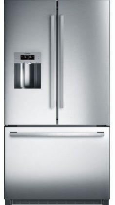 This 36 French Door Bottom Mount Refrigerator by Bosch 800 Series comes with anti-fingerprint stainless steel and LED Lights. It also features SuperFreezing. and Super Cooling. Stainless Steel Refrigerator, Kitchen Refrigerator, French Door Refrigerator, Bosch Appliances, Kitchen Appliances, Lighting Concepts, Glass Shelves, Door Design, French Doors