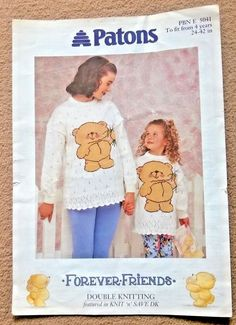 2 page Forever Friends Sweater Knitting Pattern Ladies / Girls DK. Double Knitting, Hand Knitting, Knitting Patterns Boys, Vintage Knitting, Girls Sweaters, Friends Forever, Winnie The Pooh, Boy Or Girl, Disney Characters
