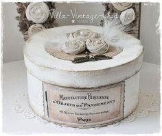 Deko-Objekte - ♥große Schachtel Dose ♥ shabby Rosen french - ein Designerstück von Villa-Vintage-Chic bei DaWanda