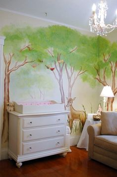 Pretty Woodland Mural In A Nursery