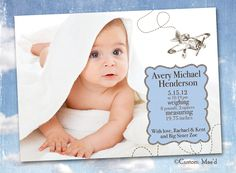 Airplane Birth Announcement Aviator Baby Aviation by customaed Airplane Nursery, Vintage Airplanes, Baby Birth, Printing Services, Photo Cards, Service Design, Your Cards, Announcement, Custom Design