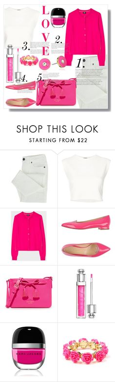 """PINK cardigan"" by smriti4520 ❤ liked on Polyvore featuring Puma, PS Paul Smith, Giannico, Kate Spade, Christian Dior, Marc Jacobs, Amrita Singh, Pink, cardigans and fallfashion"